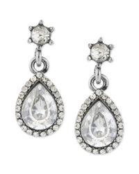 Betsey Johnson - Metallic Silvertone Glass Pave Crystal Teardrop Earrings - Lyst