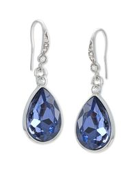 Carolee - Metallic Silver-tone Faceted Glass Stone Pear Drop Earrings - Lyst