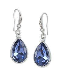 Carolee | Metallic Silver-tone Faceted Glass Stone Pear Drop Earrings | Lyst