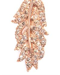 Elise Dray | Diamond Pink Gold Clip Feather Earring | Lyst