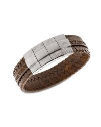 Emporio Armani | Braided Brown Leather Bracelet for Men | Lyst