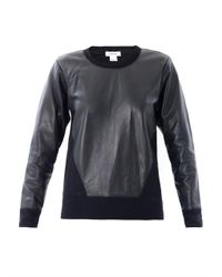 Helmut Lang | Black Leather Panel Sweatshirt for Men | Lyst