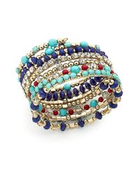 INC International Concepts | Metallic Goldtone Blue Multibead Coil Bracelet | Lyst
