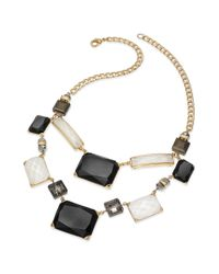 INC International Concepts - Metallic Goldtone Black and White Stone Bib Necklace - Lyst
