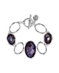 Jones New York   Purple Silver-Tone Tanzanite Stone Toggle Bracelet   Lyst