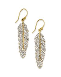 Juicy Couture - Metallic Goldtone Pave Feather Drop Earrings - Lyst