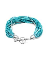 Kenneth Cole - Metallic Silver-tone Turquoise Seed Bead Strand Bracelet - Lyst
