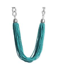 Kenneth Cole | Blue Silvertone Turquoise Seed Bead Torsade Necklace | Lyst