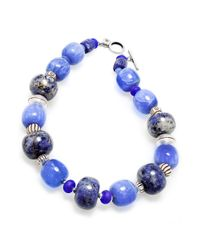 Lauren by Ralph Lauren | Silvertone Blue Bead Toggle Necklace | Lyst