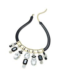 Material Girl   Gray Goldtone Black Rope Stone Statement Necklace   Lyst
