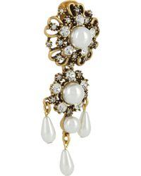 Oscar de la Renta   Metallic Goldplated Crystal and Faux Pearl Clip Earrings   Lyst