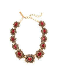 Oscar de la Renta | Red Gold-tone Crystal Necklace | Lyst