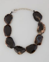 Panacea - Metallic Chunky Agate Collar Necklace Black - Lyst