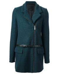 Pinko - Green Contrast Belt Coat - Lyst