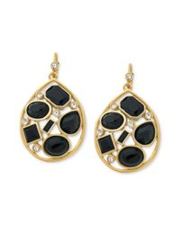 T Tahari | Metallic 14k Gold-plated Black Stone Open-work Drop Earrings | Lyst