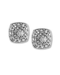 Vince Camuto - Metallic Silvertone Crystal Pave Small Rounded Pyramid Stud Earrings - Lyst