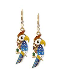 Betsey Johnson | Metallic Antique Goldtone Parrot Drop Earrings | Lyst