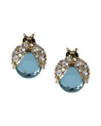 Betsey Johnson - Metallic Gold-tone Blue Glass Crystal Bug Stud Earrings - Lyst