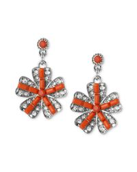 Betsey Johnson - Orange Rhodiumplated Glass Crystal Flower Drop Earrings - Lyst