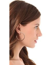 Giles & Brother - Pink Pave Pyramid Hoop Earrings - Lyst