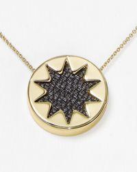 "House of Harlow 1960 | Black Mini Sunburst Pendant Necklace, 16"" | Lyst"