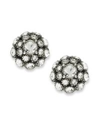 kate spade new york - Metallic Earrings, Antique Silver-tone Crystal Ball Stud Earrings - Lyst