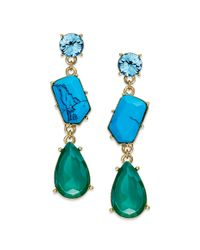 kate spade new york | Multicolor Kate Spade New York Earrings Gold Tone Turquoise Multi Crystal Fiesta Linear Drop Earrings | Lyst