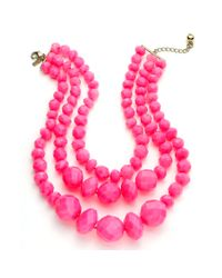 kate spade new york | Fluorescent Pink Triple Strand Statement Necklace | Lyst