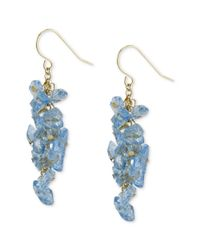 Kenneth Cole | Blue Goldtone Shaky Chip Bead Linear Earrings | Lyst