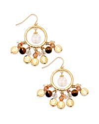 Lauren by Ralph Lauren - Multicolor Gold-tone Multi-bead Gypsy Hoop Earrings - Lyst