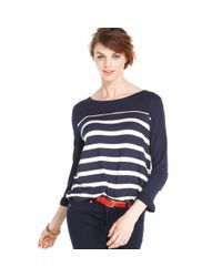 Maison Jules - Blue Longsleeve Boatneck Striped - Lyst