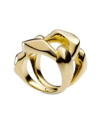 Michael Kors | Metallic Gold Tone Chain Link Ring | Lyst