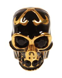 Alexander McQueen - Metallic Gold and Black Enamel Skull Ring - Lyst