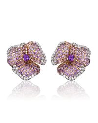 AS29 - Purple Amethyst Pave Diamond Flower Earrings - Lyst