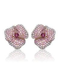 AS29 | Pink Pave Diamond Flower Earrings | Lyst