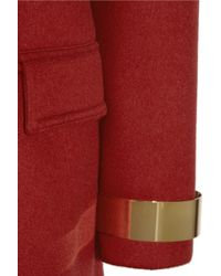 Burberry Prorsum - Red Metal trimmed Cashmere blend Felt Coat - Lyst