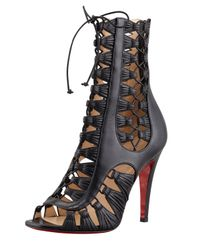 Christian Louboutin | Azimut Caged Leather Bootie Black | Lyst