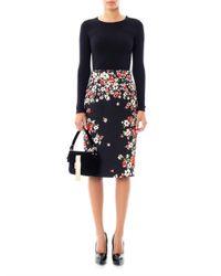 Dolce & Gabbana | Black Flower Brocade Pencil Skirt | Lyst
