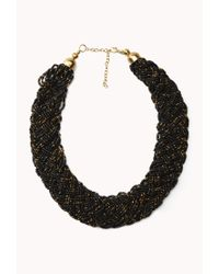 Forever 21 - Black Braided Metallic Bead Necklace - Lyst
