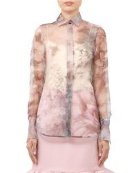 Valentino - Pink Floral-print Organza Shirt - Lyst