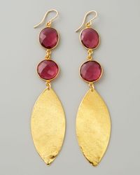 Devon Leigh | Metallic Double Amethyst Quartz Gold Leaf Earrings | Lyst