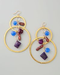 Devon Leigh - Multicolor Purple Pearl Chalcedony Cluster Hoop Earrings - Lyst