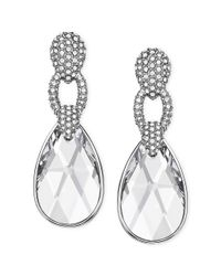 Swarovski | Metallic Rhodiumplated Crystal Pave Selma Drop Earrings | Lyst