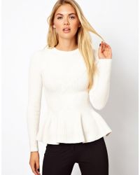 Marie Meili - White Ted Baker Cable Knit Sweater with Peplum Hem - Lyst