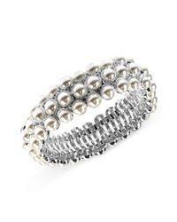 Anne Klein | Metallic Silvertone Crystallized Tubular Bracelet | Lyst