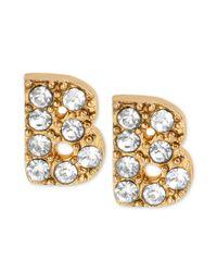 Betsey Johnson - Metallic Antique Goldtone Crystal B Letter Stud Earrings - Lyst