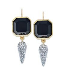 Juicy Couture | Goldtone Black Stone and Pave Spike Drop Earrings | Lyst