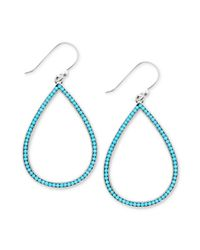 Lucky Brand | Blue Silvertone Turquoise Bead Oblong Drop Earrings | Lyst