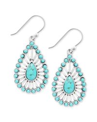 Lucky Brand | Green Silvertone Turquoise Bead Teardrop Earrings | Lyst
