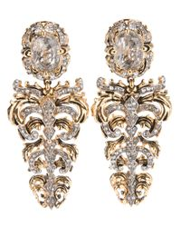 Roberto Cavalli | Metallic Crystal Drop Earrrings | Lyst